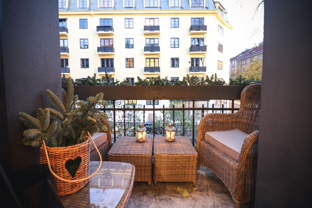 Cozy private balcony where you can enjoy your morning coffee :)