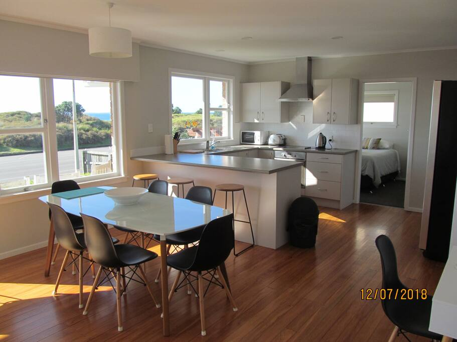 dining and kitchen, rimu floors