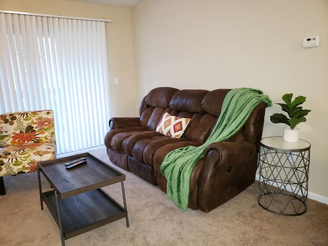Sit back and relax enjoy the comfortable electric recliner and watch any cable channel.