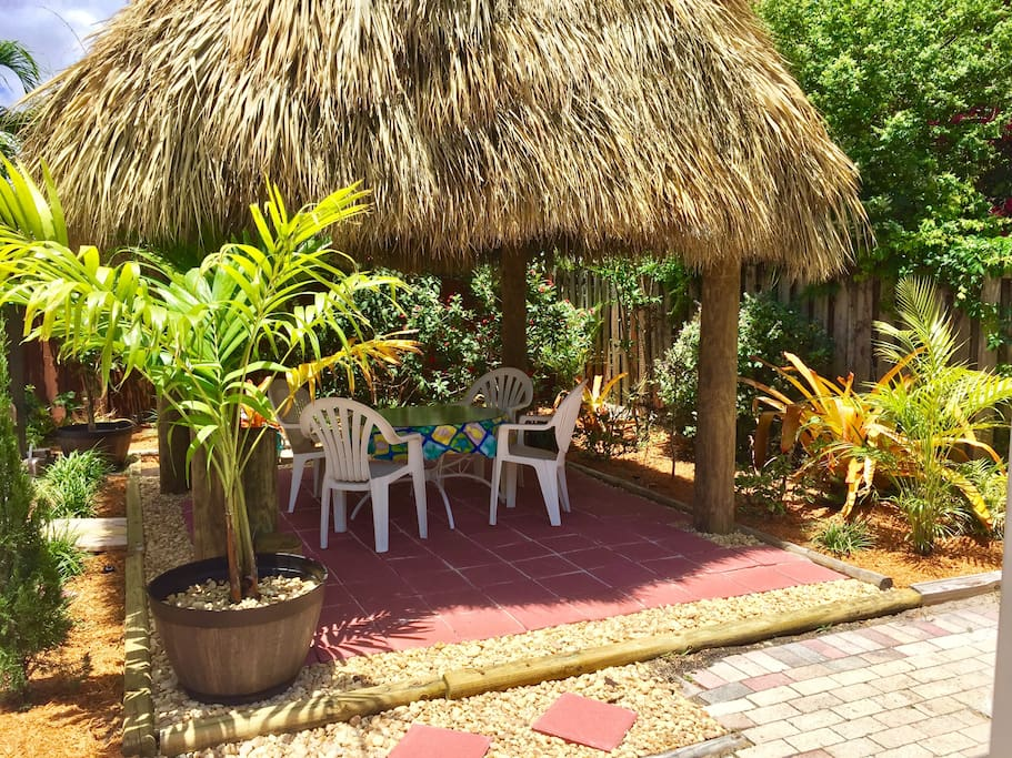 Relax in the shade of the new Tiki Hut just off the pool deck with your favorite beverage.