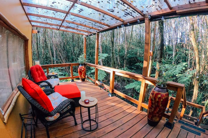 Upper lanai with covered see-through canopy overlooking the rainforest.  A great place to relax and watch the trees sway