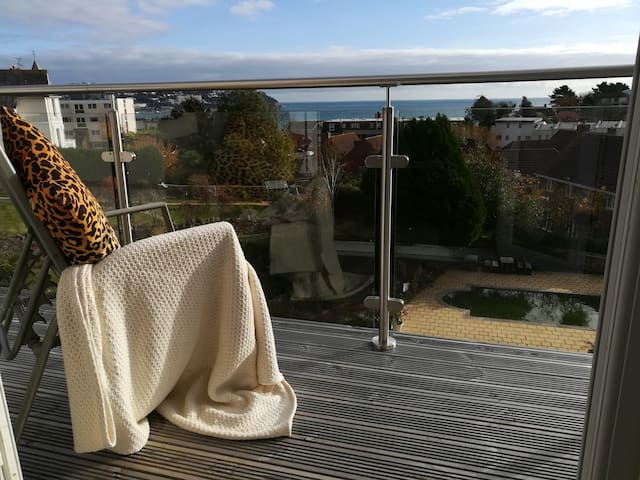 Beach Close with sea views, Torquay, Wifi included