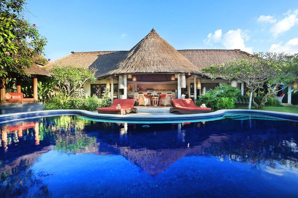 The villa from across the pool