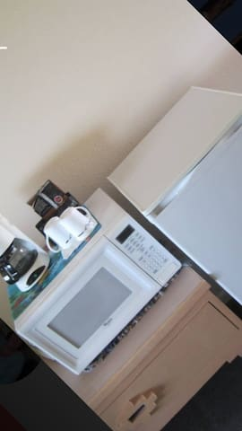 Coffee, microwave and mini fridge for your convenience