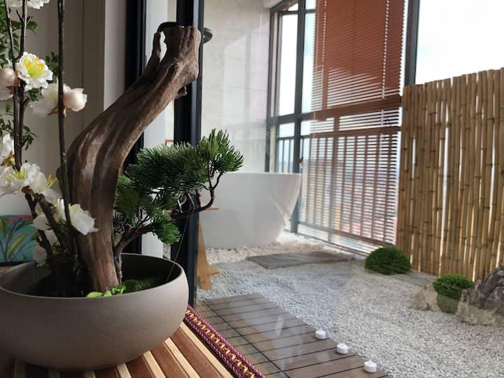 【小叙·云和】日式枯山水花园 浴缸  和服拍照   投影  榻榻米房