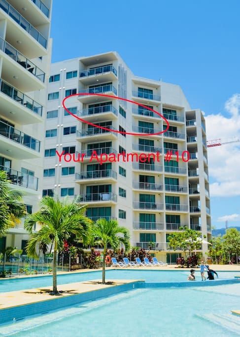 Your apartment overlooks the full length of the pool and over the Esplanade