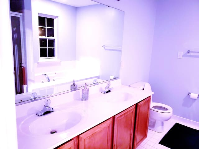 Private restroom with dual sink