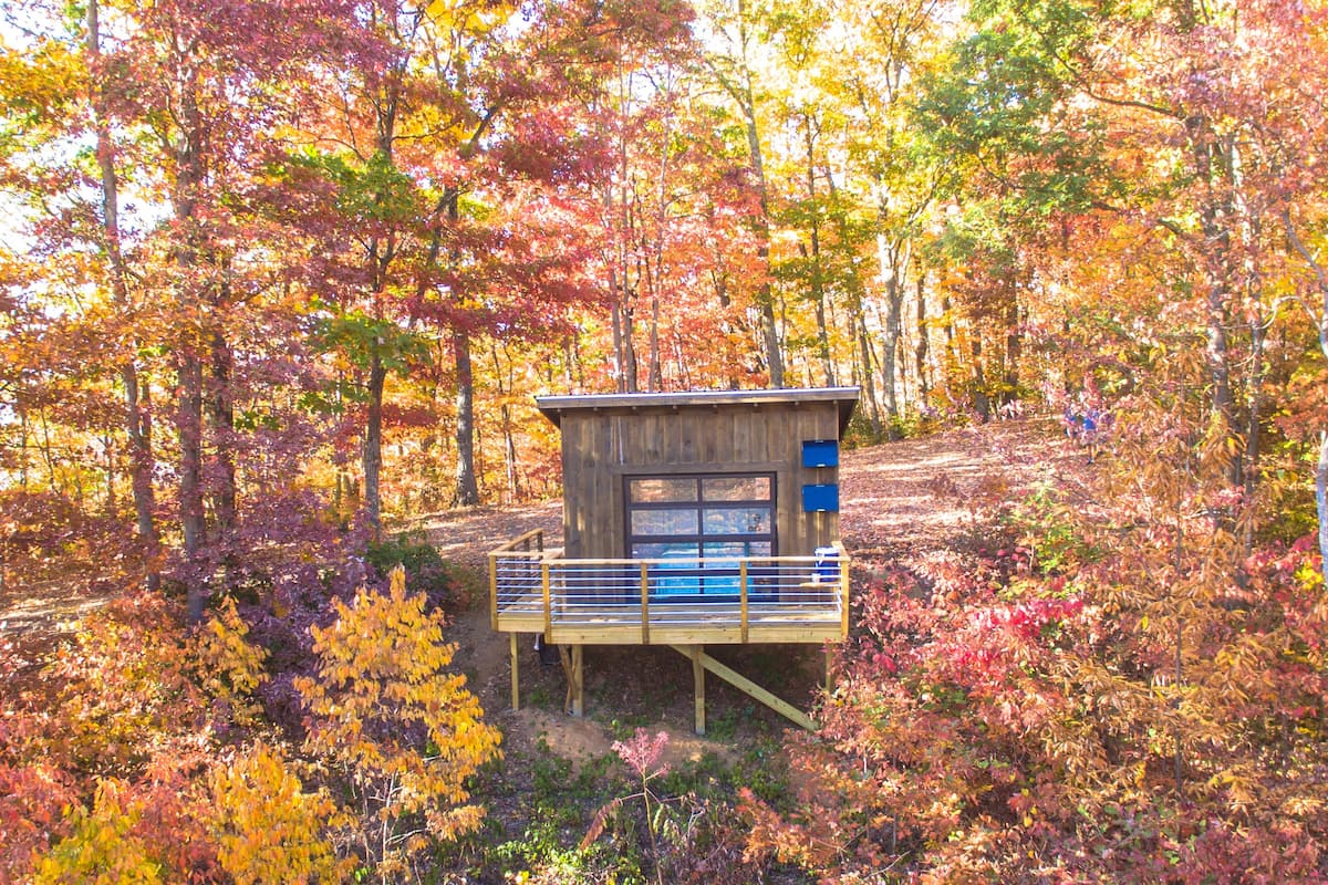 Airbnb in Asheville surrounded by fall foliage