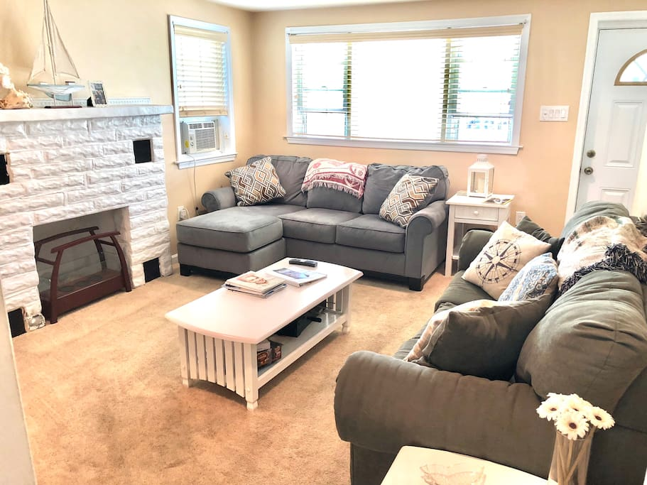 Comfy couches with plenty of seating for a group.