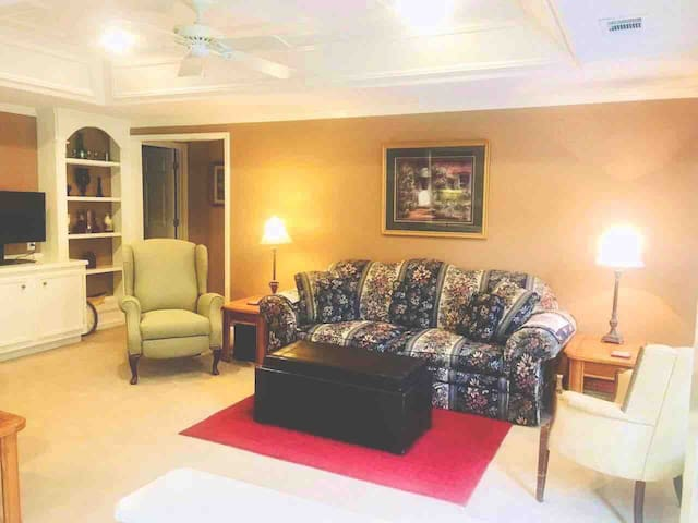 Spacious living area with trey ceiling and crown molding in every room. Sofa makes into a a queen size bed.