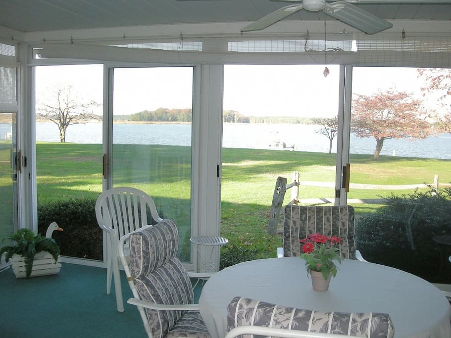 Sunroom and view of water