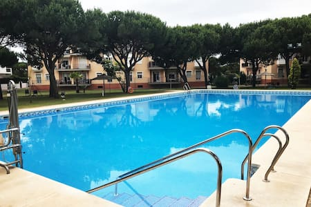 5 min by walk from the beach, huge swimming pool