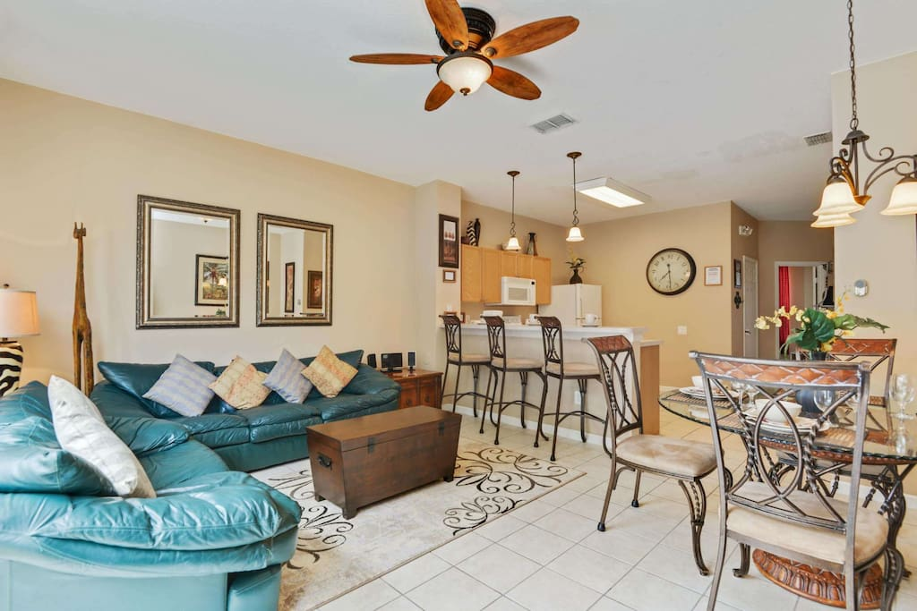 This open plan family room offers spacious living for everyone with room to spare. Having more room brings families closer together! No more cramped hotel rooms when you can stay here for a fraction of the cost.