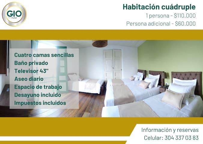 Habitación cuádruple en Hotel Gio en Sonsón