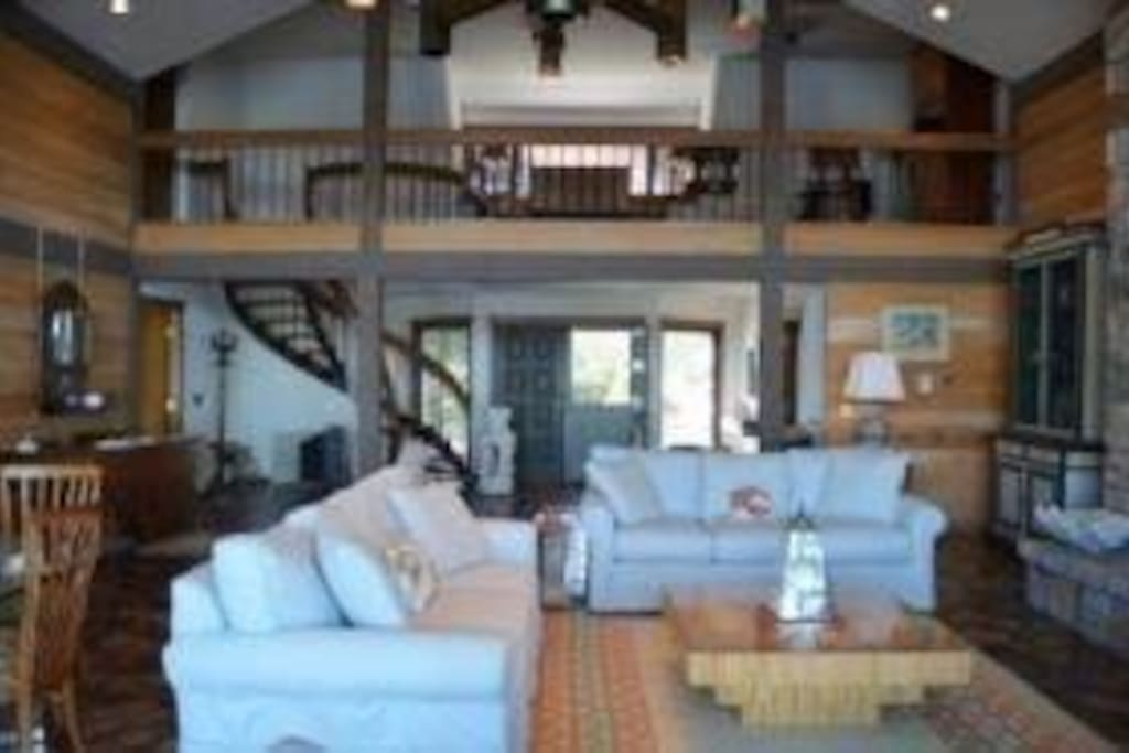 Great room with loft and spiral staircase