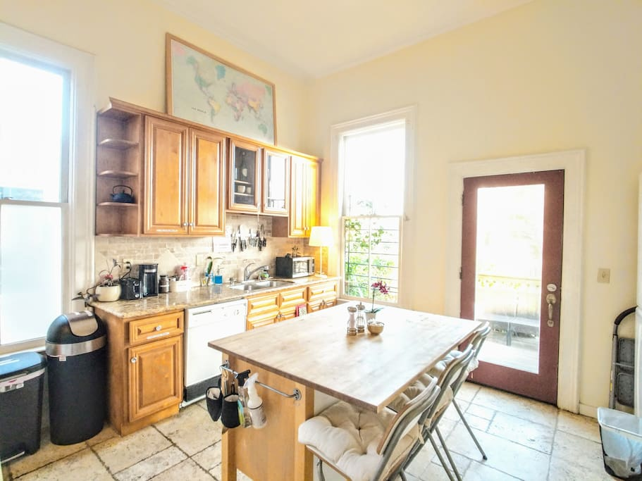 The communal kitchen for your use, which includes complimentary coffee, tea, cooking oil, spices and more! Feel free to use the refrigerator and all cooking appliance!