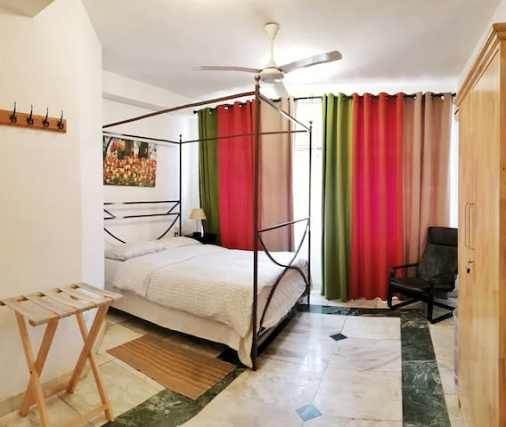 This is the master Bed Room of the apartment with attached BR. Luxuriously and practically furnished with Italian Marble flooring.