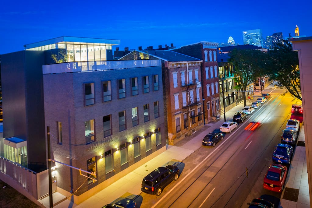 Evening perspective on our building in center of OTR and just north of downtown.