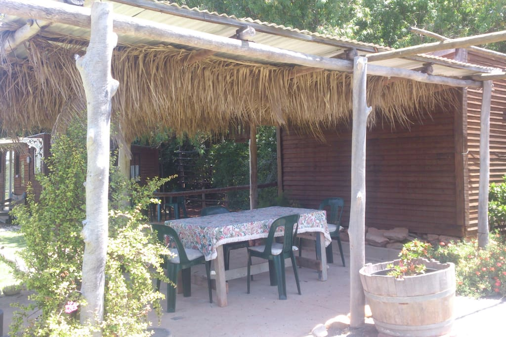 Almond-covered patio
