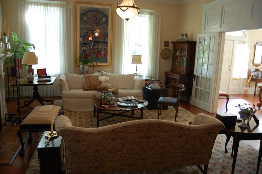 The living room next to the front foyer.