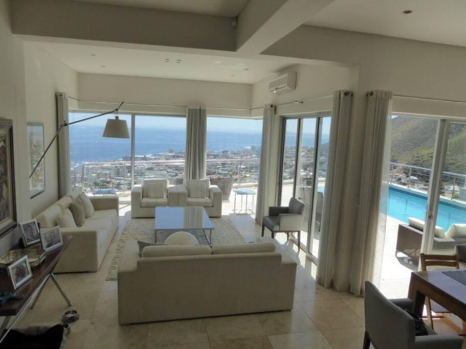 Open plan lounge, kitchen and veranda