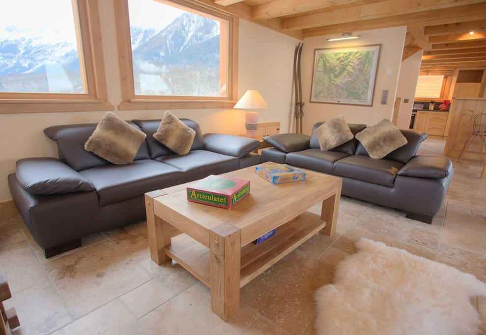 Lounge with stunning views of the Chamonix valley
