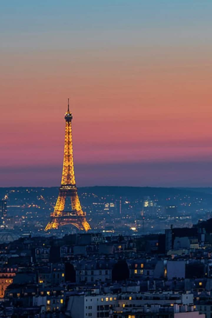 View over Paris by night