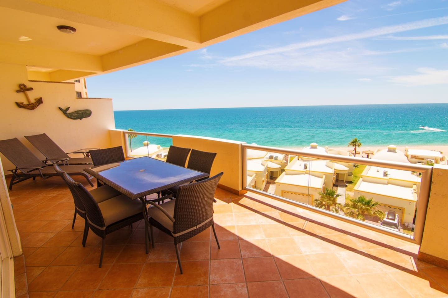 Enjoy the patio set with 2 oversized lounge chairs.  This unit was chosen with the perfect sunset view in mind.