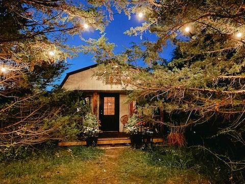 Eigenzinnige hut genesteld in het bos