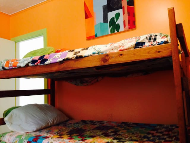 Vintage bunk beds in the 2nd bedroom.