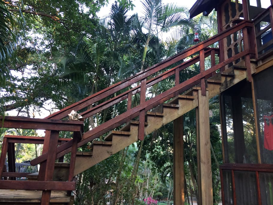 Close-up of stairs to veranda