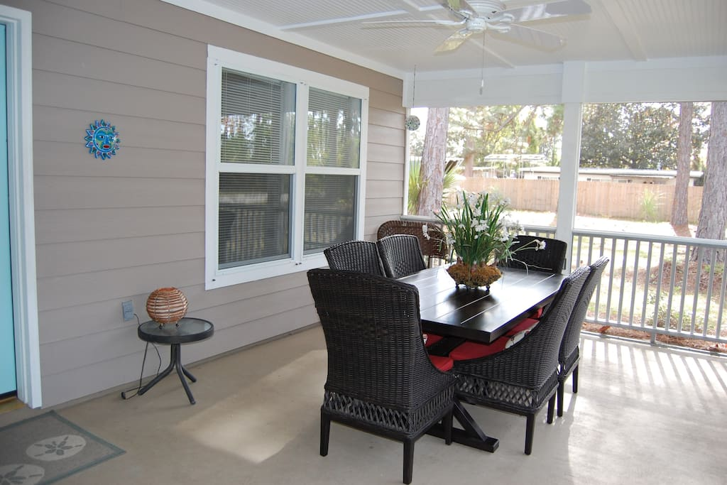 Seating for 6+ on porch.