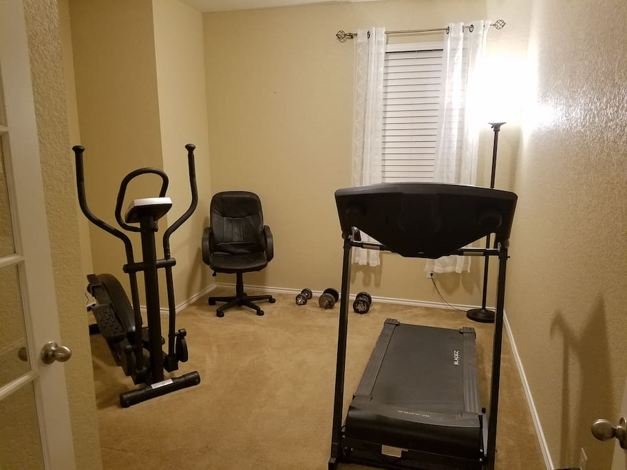 Treadmill Elliptical and Free weights to get your workout on