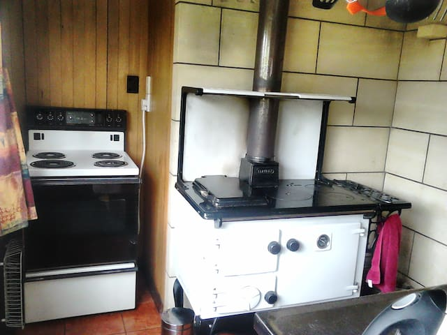 Stanley wood stove and electric stove