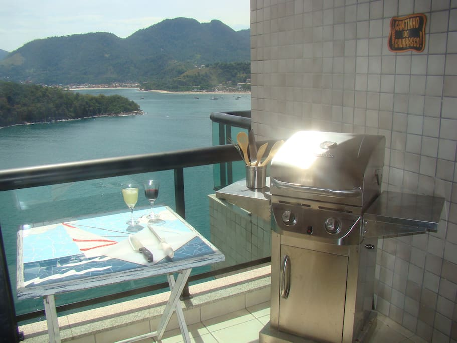 Barbecue grill on the balcony