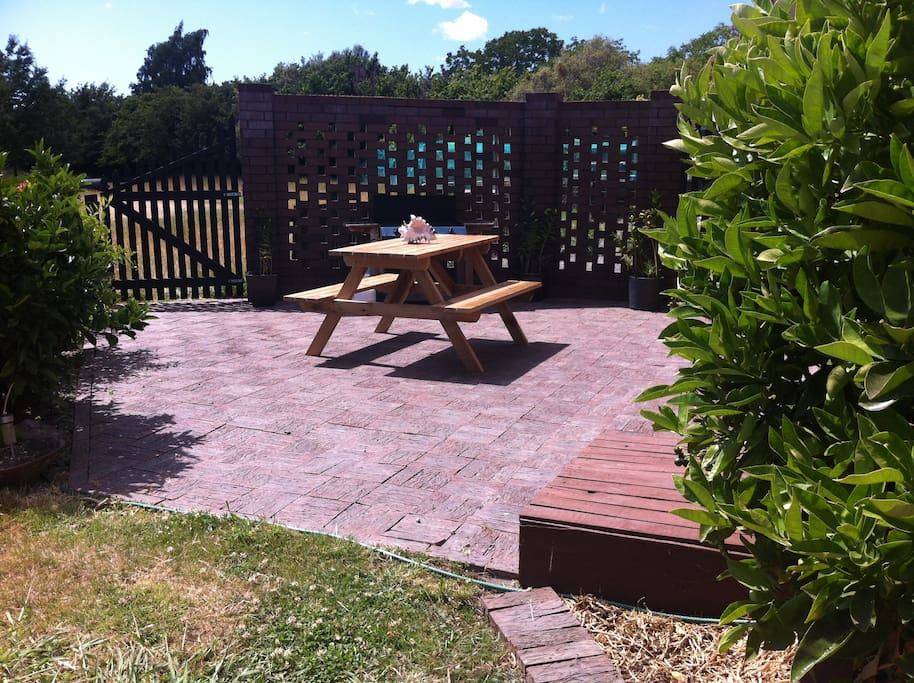 Relaxing setting, our property is 2 acres of fruit trees, gardens and a few very friendly sheep!