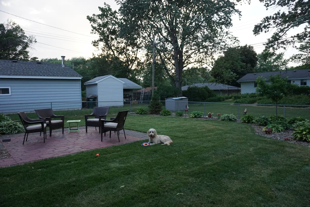 Backyard with resident Goldendoodle Eleanor.  Enjoy a glass of wine in the evening.