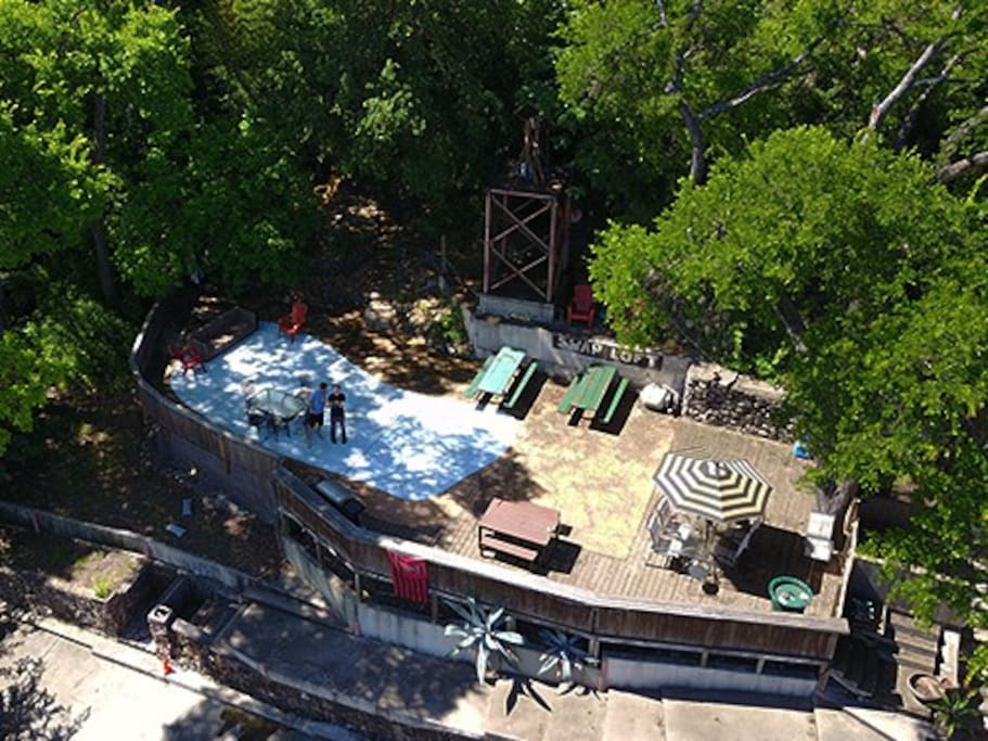 2,000 Square Foot Patio that has Wifi, Grill, Lights, and an incredible view overlooking Restaurant Row on Barton Springs Road.  This is only one of the 3 locations you will have access during your stay with us!