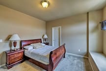 The fifth bedroom features a full bed as well.