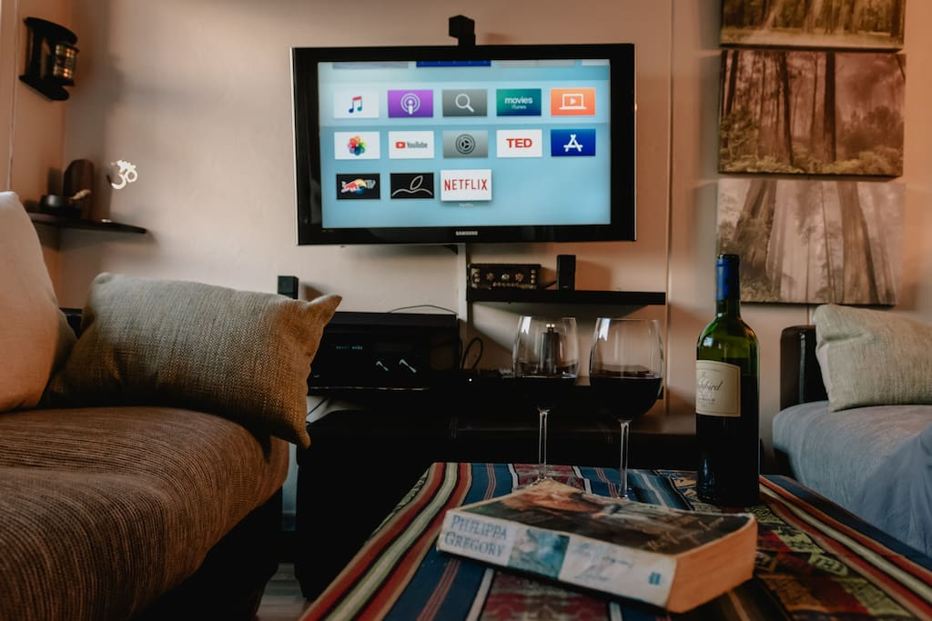 TV with Netflix, Apple TV and surround sound