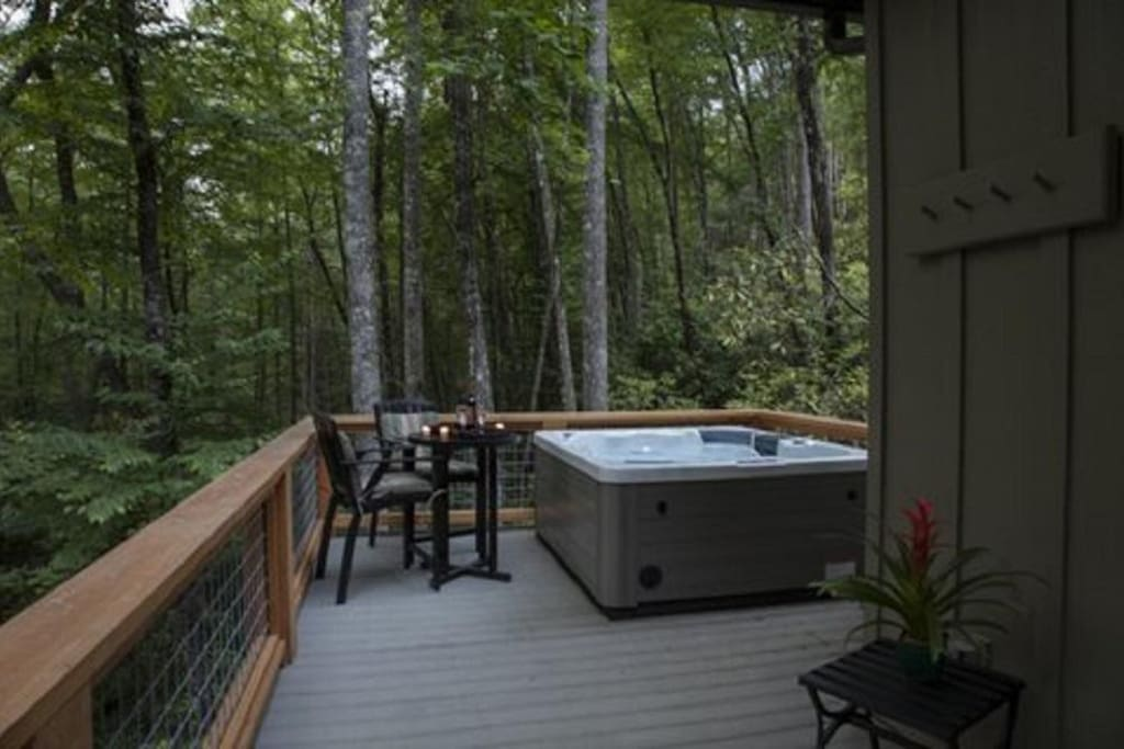 Sparkling Hot Tub awaits, and Bathrobes are provided.