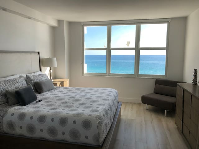 Main bedroom in suite, with excellent sea views.