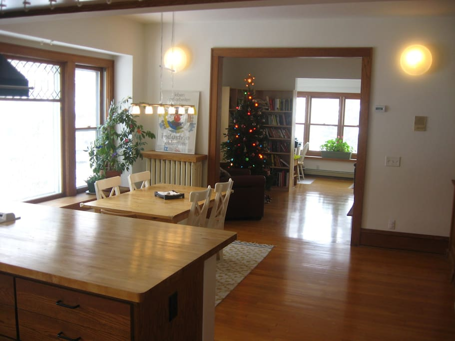 View of Dining Room, from Kitchen.