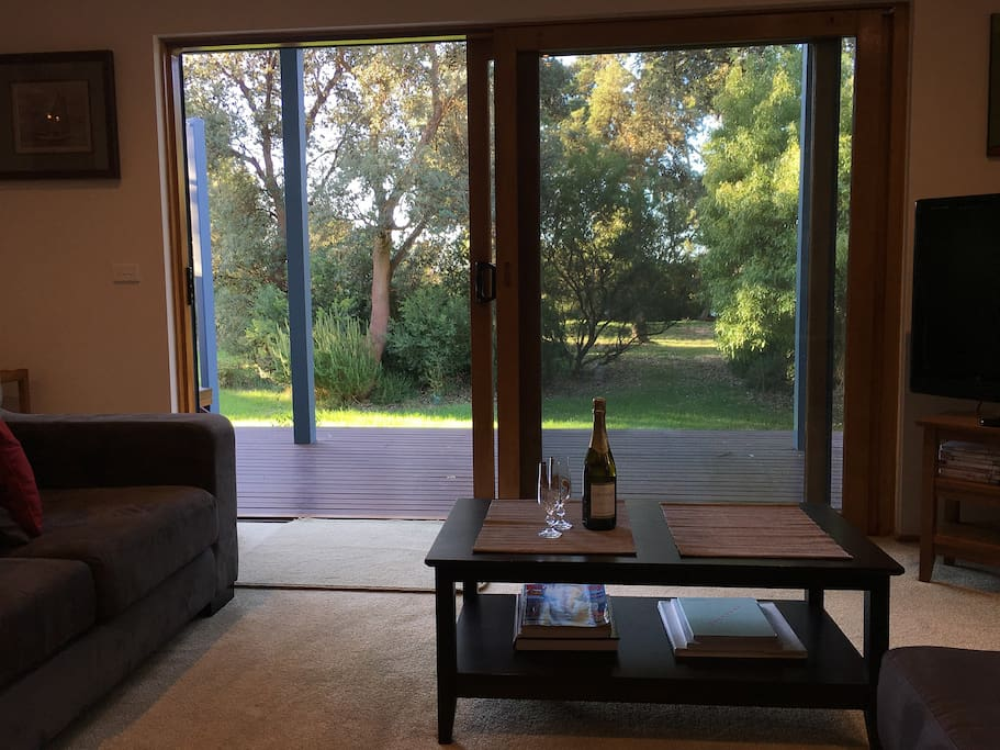 View from lounge through double glazed sliding door.