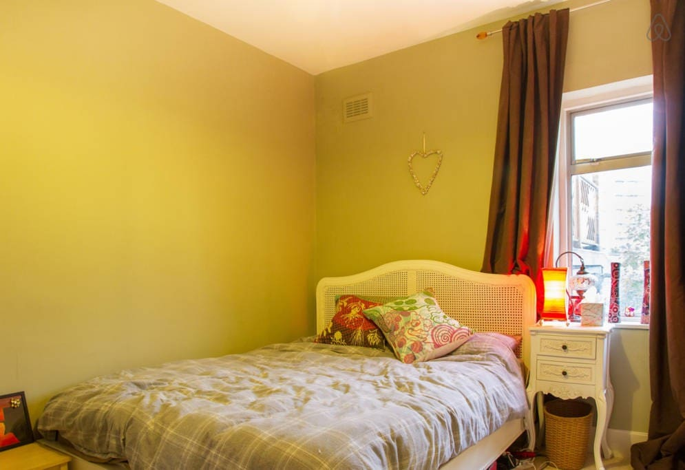 The main bedroom at the top of the landing - with black out curtains
