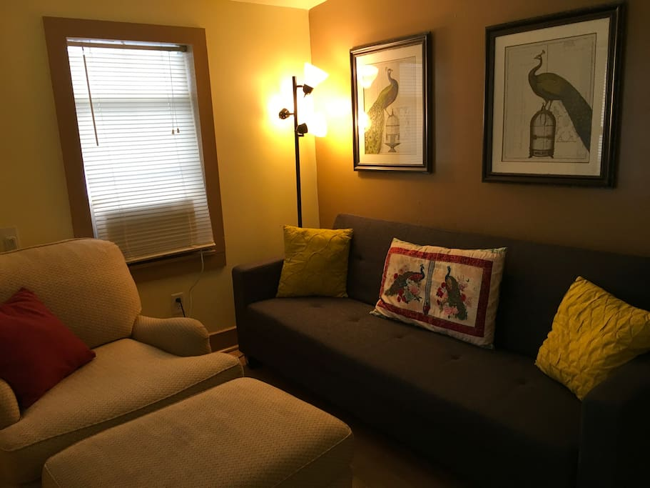 Living Room with Futon pull out couch.