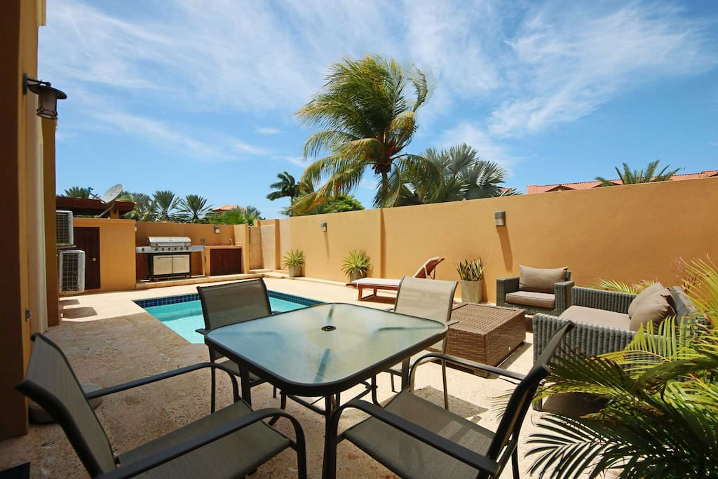 Private swimming pool and outdoor furniture