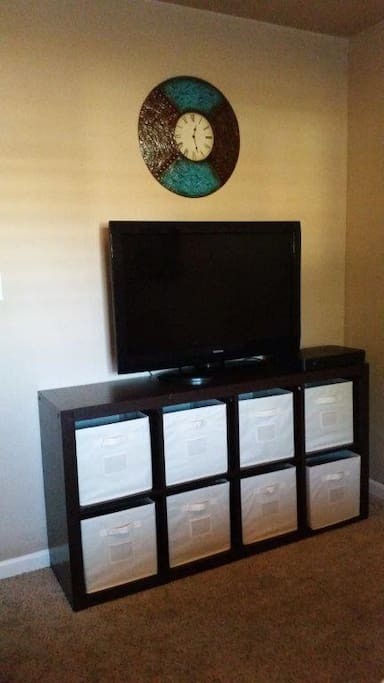 "Your storage/dresser and 42"" TV with Cable, DVD and Netflix."