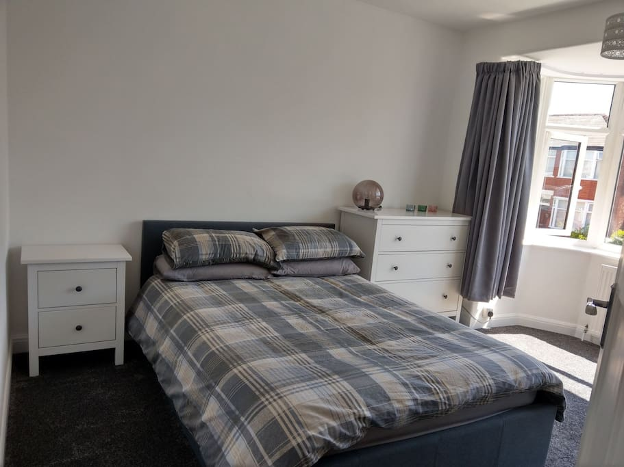 Front bedroom. Freshly decorated,  carpeted & newly furnished lockable, double room. No shoes allowed.
