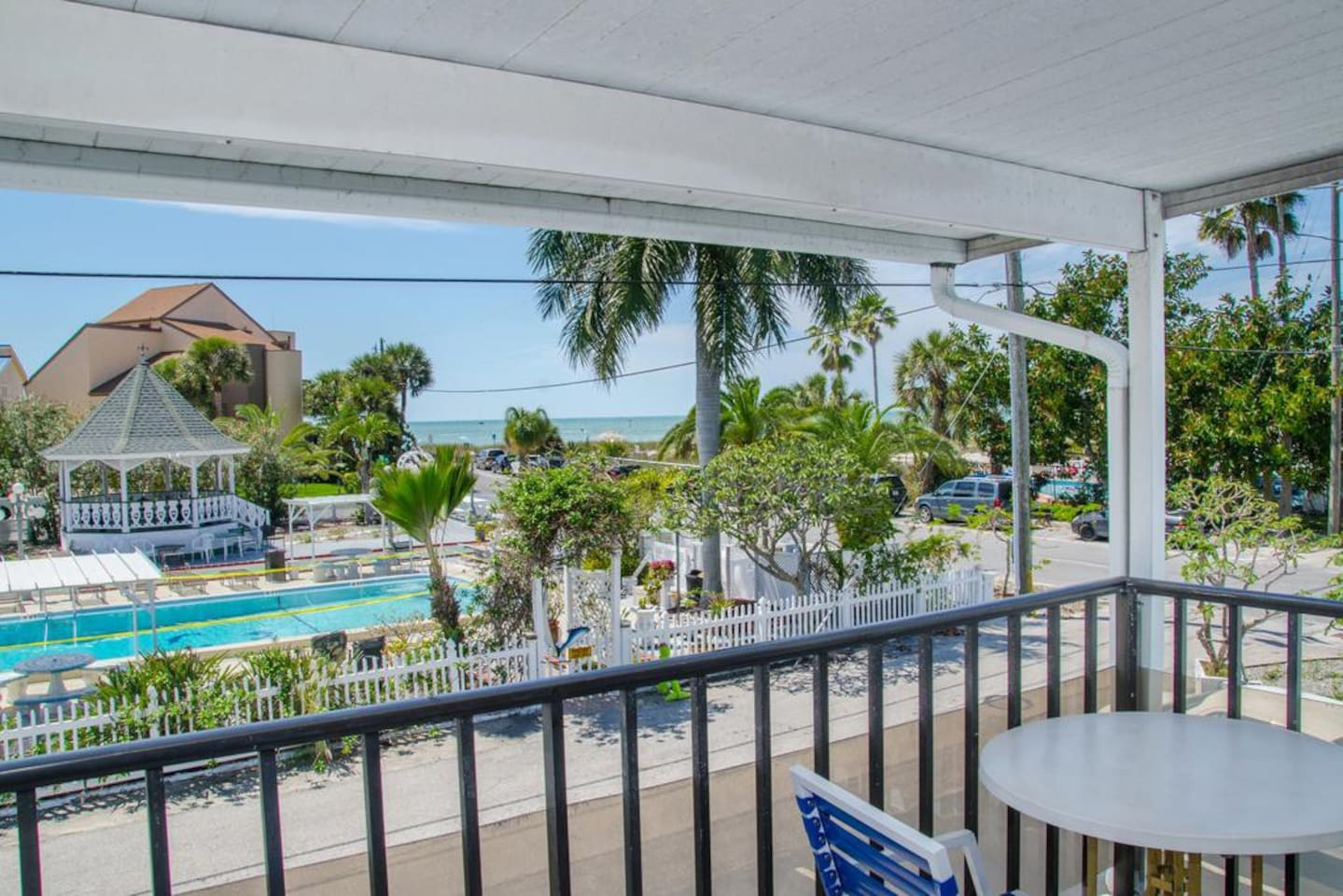 This is our 2 bedroom with Balcony. Partial view of the Gulf of Mexico. Queen bed in one bedroom. 2 Full size beds in second bedroom. Queen Sleeper Sofa in the living room. 1 bath. Full kitchen. This unit will sleep 8.